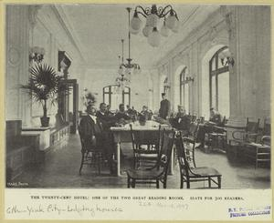 The Twenty-Cent Hotel : one of the two great reading rooms ; Seats for 300 readers.
