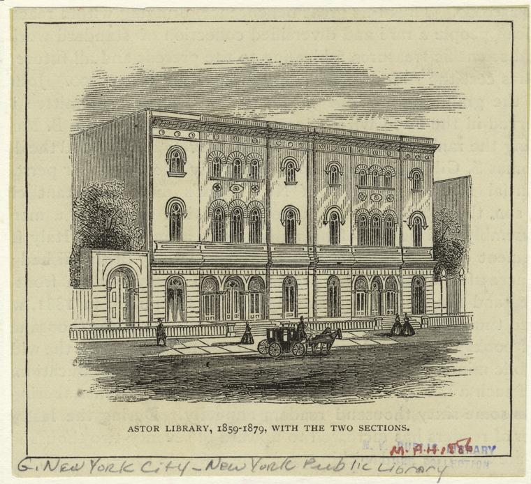 Astor Library, 1859-1879, with the two sections.