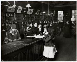 [Interior of the Chatham Square Branch of the New York Public Library.]