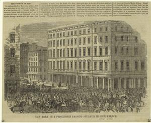 New York City procession passing Stuart's Marble Palace.