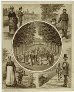 [People walking in a park, New York City, 19th century.]
