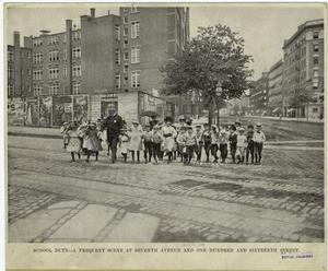 School duty -- a frequent scene at Seventh Avenue and One Hundred and sixteenth Street.
