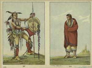 [People in tribal costumes, North America, 1830s.]