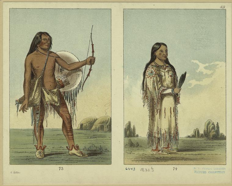 [Man and woman in tribal costumes, North America, 1830s.]