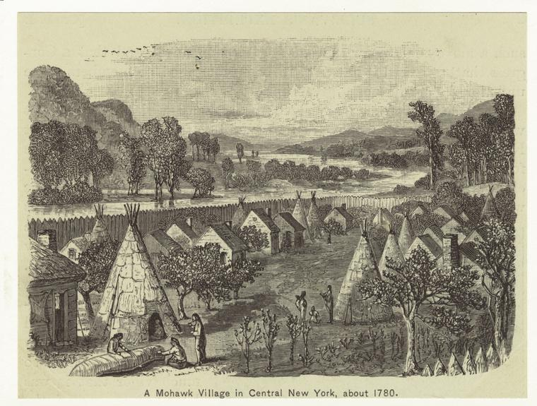 A Mohawk village in Central New York, about 1780.