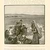 Bîr es Seba': the site of Beersheba.  The ancient wells can still be traced, and two of them are serviceable ; but the city has ceased to exist.  In the distance may be seen an encampment of the Tiyâheh Arabs.  In the foreground a woman is asking  alms...