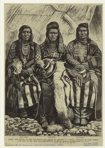Idaho : the defeat of the non-treaty Nez Perces by General N.A. Miles : portraits of Chief Joseph and two of his aids (sic).