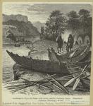 Landscape in Tierra del Fuego, with canoes, paddles, harpoons, lances.