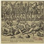 Greueltaten der Spanier in Südamerika : Aufrührerische Indianer werden von Blut-hunden zerrissen.