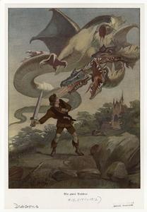 [Man fighting a three-headed dragon.]