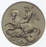 [Man on a horse slaying a