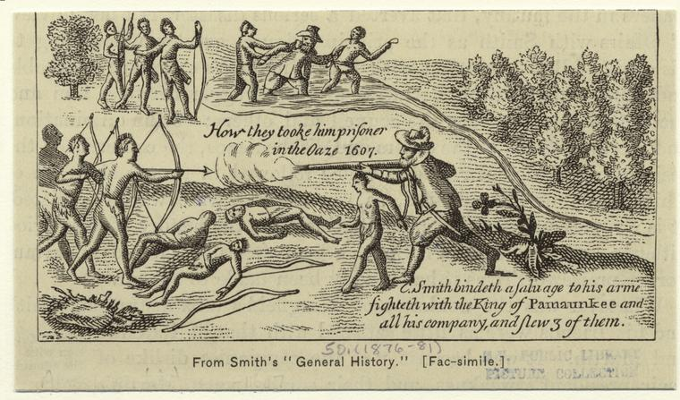 [Captain Smith fighting the Pamunkee Indians, 1607.]
