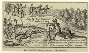 [Captain Smith fighting the Pamaunkee Indians, 1607.]