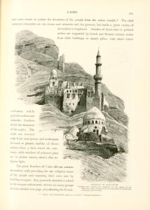 Mosques on Mukattam. Caverns and quarries are numerous on the slopes of the Mukattam hills, which are of nummulite foundation and extremely rich in fossils.