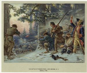 The battle of Rogers Rock, Lake George, N.Y., March, 1758.