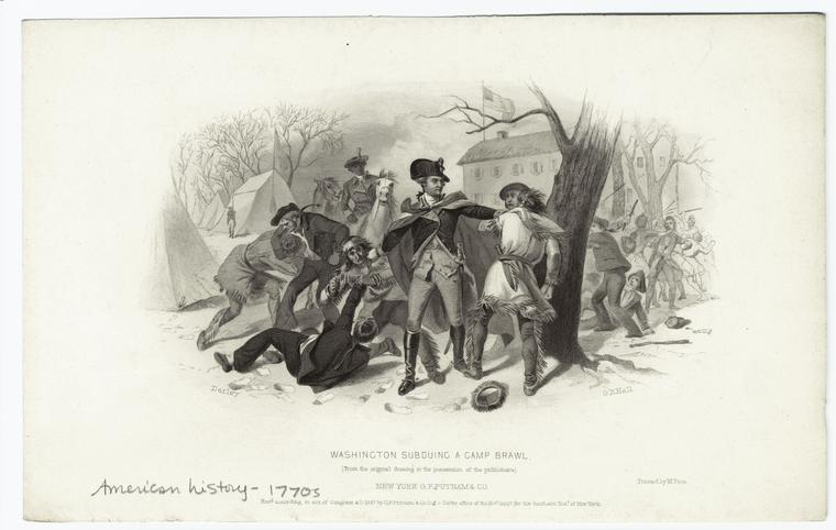 Washington subduing a camp brawl.