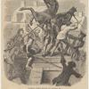 Tearing down statue of George III.