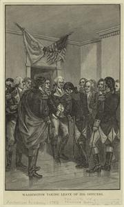 Washington taking leave of his officers.