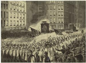 Grand procession of Wide-Awakes, NYC, on the evening of Oct. 3, 1860.
