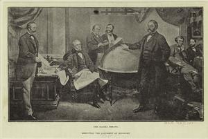 The Alaska treaty -- executing the document at midnight.