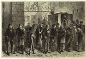 A prison van discharging at the Tombs.