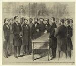 The Presidential Journey -- Reception Of President Lincoln By Fernando Wood, Mayor Of New York, At The City Hall, On Wednesday, Feb. 20th, 1861.