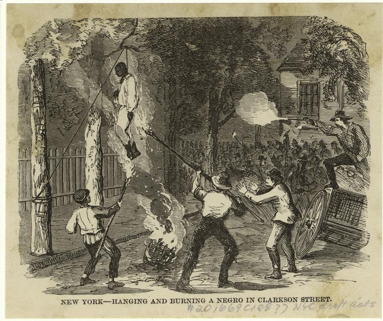 New York -- hanging and burning a negro in Clarkson Street.