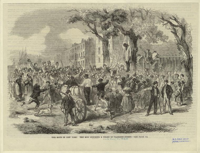 The riots in New York : the mob lynching a negro in Clarkson-Street.