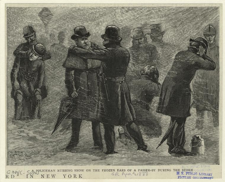 A policeman rubbing snow on the frozen ears of a passer-by during the storm.