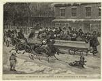 Sleighing On Broadway In 1860, Showing A Public Conveyance On Runners.