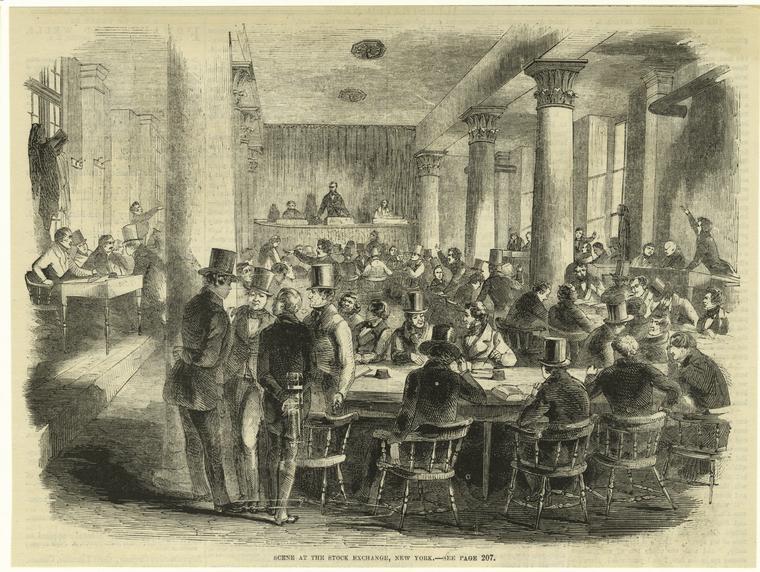 Scene at the stock exchange, New York.