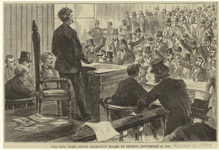 The New York Stock Exchange Board in session, September 25, 1869.