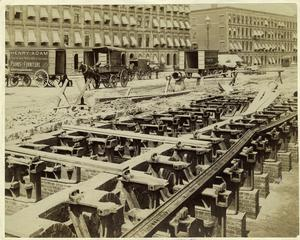 [Street railroad track construction, New York City.]