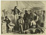 The sailors' strike--scene on Peck Slip Wharf, New York City
