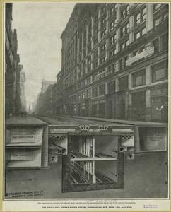 The double-deck subway system applied to Broadway, New York.