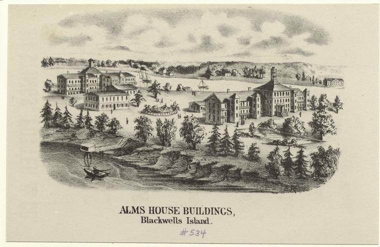 Alms House Buildings on Blackwells Island, 1840