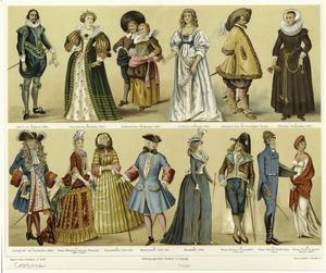 [Men and women in costume, 17th, 18th, and 19th centuries.]