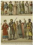 Peasants ; Man of rank ; Ladies of rank ; Warrior ; Pilgrim ; Queen ; King ; Costume of the people ; Knights.