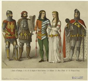 Count of Thüringen ; Knights in battle costume ; Soldiers ; Men of rank ; Women of rank.