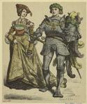[Woman and knight carryin