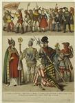 Peasants of the Shoe-league ; Female peasant ; Musicians ; Citizens ; Elector John Frederick ; Bishop ; Knight ; Fool ; George Frundsberg, Commander-en-chief of Charles V ; Man of rank ; Huntsman
