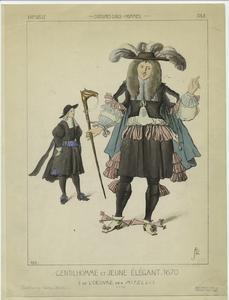 Gentilhomme et jeune élégant, 1670.