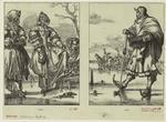 Dutch man lacing an iceskate on a woman's foot ; Dutch man on ice holding a kolf stick, seventeenth century.