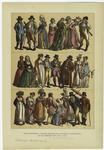 Edad moderna -- trajes usados en la Europa occidental en el periodo de 1790 a 1815.