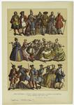 Edad moderna -- trajes y armas usados en la Europa occidental en el periodo de 1700 á 1760.