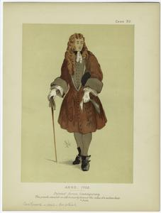 [Man in long coat, stick and hat under his arm.]