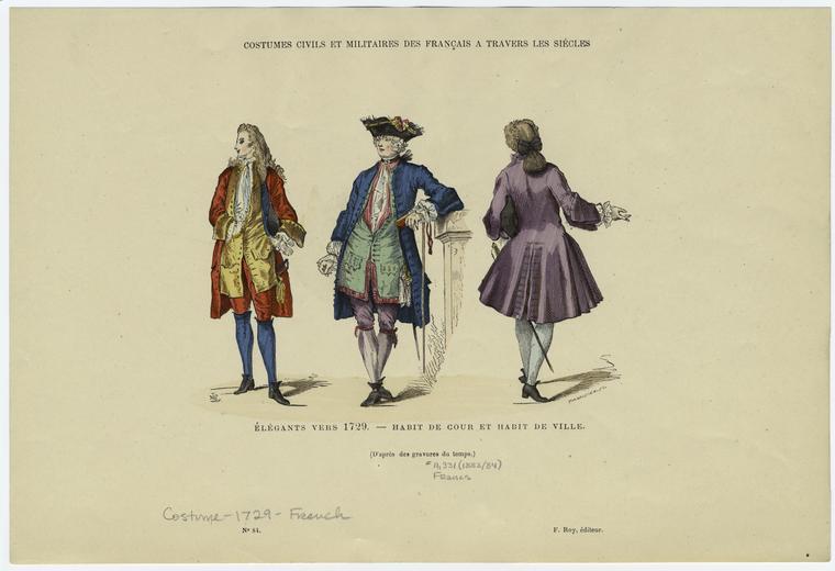 Élégants vers 1729 -- habit de cour et habit de ville.