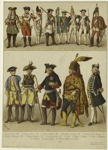 [Men in military dress, Germany, Prussia and Austria, 18th century.]