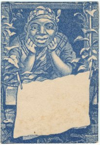 [African American woman looking out a window with hanging kerchief.]