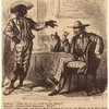 African American man talking to a caucasian man sitting at a table.